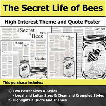The Secret Life of Bees - Visual Theme and Quote Poster for Bulletin Boards
