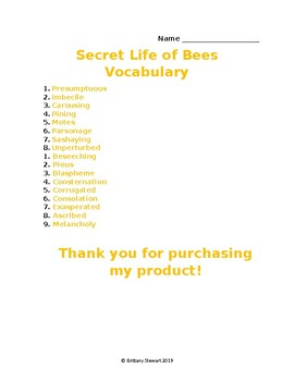 The Secret Life of Bees Vocabulary List