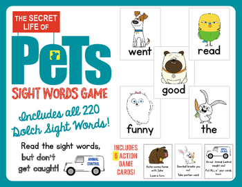 The Secret Life of Pets Sight Words Game!  Contains all 22