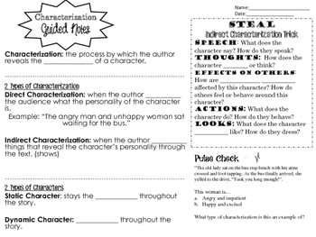 The Secret Life of Walter Mitty Characterization Activity with Guided Notes