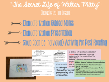 The Secret Life of Walter Mitty Characterization Activity