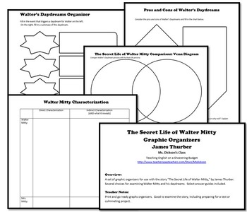 The Secret Life of Walter Mitty Graphic Organizers(James Thurber)