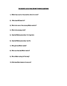 The Secret Life of Walter Mitty Movie Questions