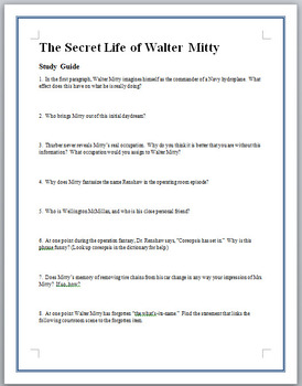 """""""The Secret Life of Walter Mitty"""" Study Guide Questions"""