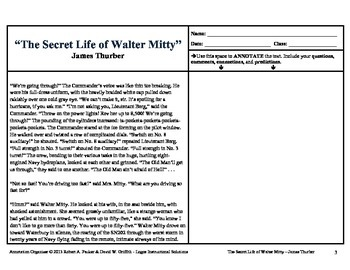 """""""The Secret Life of Walter Mitty"""" by James Thurber: Annotation Organizer"""