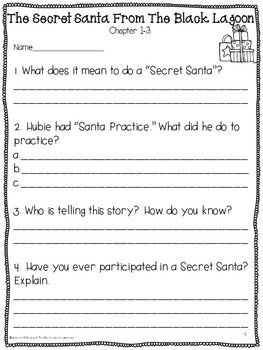 The Secret Santa From The Black Lagoon {Comprehension Questions & Activity}