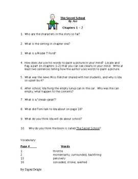 The Secret School Reading Comprehension Questions and Book Test
