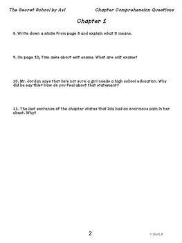 The Secret School by Avi Comprehension Questions