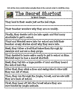 The Secret Shortcut comprehension packet