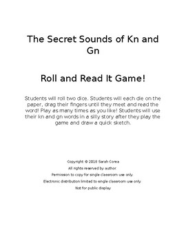 The Secret Sounds of Kn and Gn - Dice Game and Writing