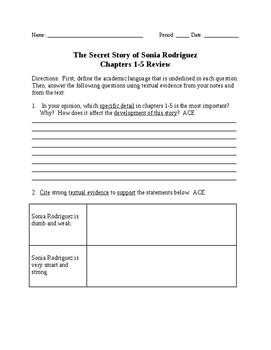 """The Secret Story of Sonia Rodriguez"" Common Core Activities"