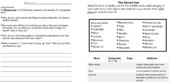 The Secret Tree test and vocab sheet