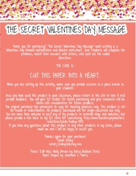 The Secret Valentines Day Message: A Multiplication and Division Challenge