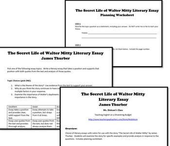 The Secret life of Walter Mitty Literary Essay (James Thurber)