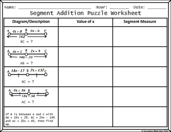 Segment Addition Postulate Cut, Paste, Solve, Match Puzzle Activity