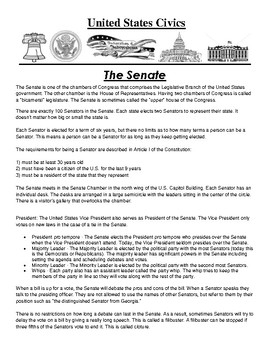 The Senate Civics Article and Assignment
