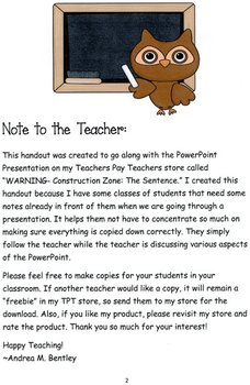 The Sentence Handout for PowerPoint Presentation