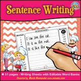 Sentences- Sentence Structure -The Sentence Makers - with EDITABLE Word Banks
