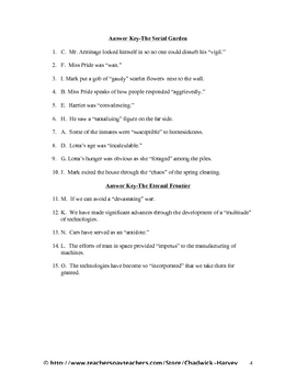 The Serial Garden and The Eternal Frontier Vocabulary Quiz Worksheet