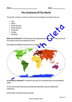 The Seven Continents Of The World - Labelled & Defined