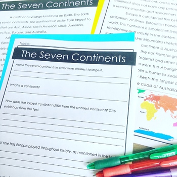 The Seven Continents Reading Passage & Comprehension Questions FREEBIE