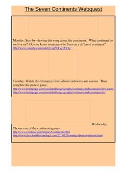 The Seven Continents Webquest