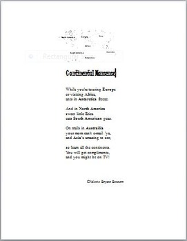 The Seven Continents in a Funny Poem
