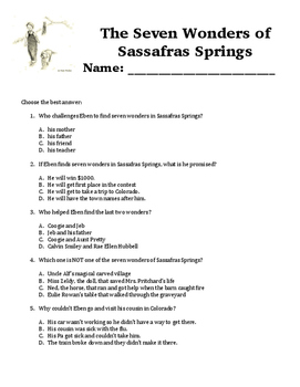 The Seven Wonders of Sassafras Springs Comprehension Questions