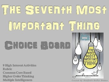 The Seventh Most Important Thing Choice Board Novel Study Activity Menu Project