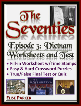 The Seventies Episode 3 Worksheets, Puzzles, and Test