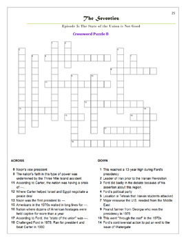 The Seventies Episode 5 Worksheets, Puzzles, and Test