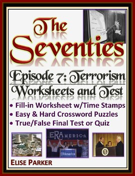 The Seventies Episode 7 Worksheets, Puzzles, and Test