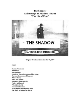 The Shadow - Radio Script or Readers Theater