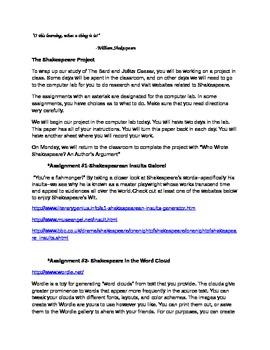 The Shakespeare Project Computer Lab Handout