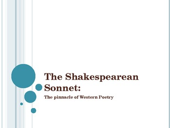 The Shakespearean Sonnet: Pinnacle of Western Poetry PowerPoint