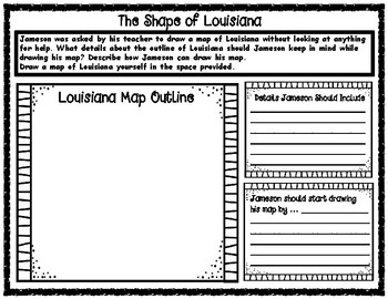 The Shape of Louisiana Map Outline Critical Thinking Activity