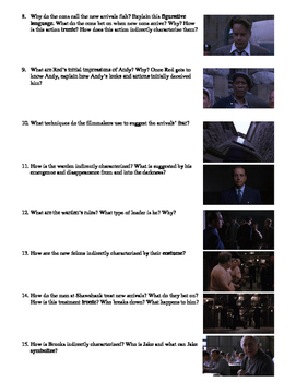 The Shawshank Redemption Film (1994) Study Guide Movie Packet
