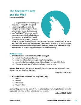 The Shepherd's Boy and the Wolf - Literary Text Test Prep