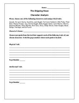 The Shipping News - Character Analysis Activity - E. Annie Proulx