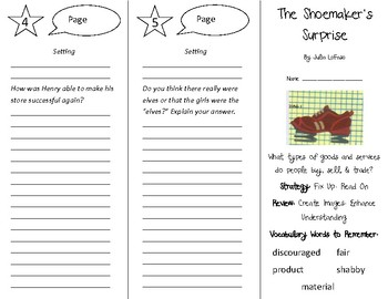 The Shoemaker's Surprise Trifold - 4th Grade Literacy by Design Theme 13