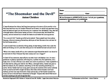 "ANTON CHEKHOV'S ""SHOEMAKER AND THE DEVIL"": Annotation Organizer"