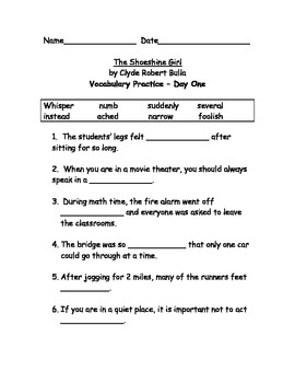 The Shoeshine Girl Vocab Practice, Test and Writing Test