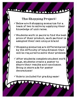 The Shopping Project: A Unit Rate Project