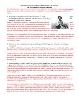 The Short Happy Life of Francis Macomber Activity Hemingway