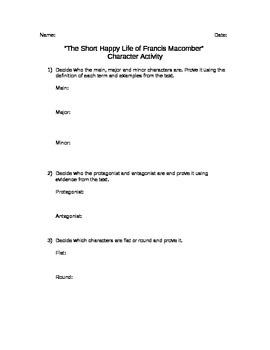 The Short Happy Life of Francis Macomber Character Activity