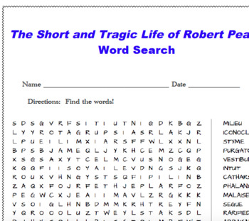 The Short and Tragic Life of Robert Peace Word Search
