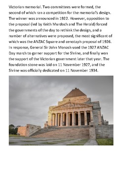 The Shrine of Remembrance Handout