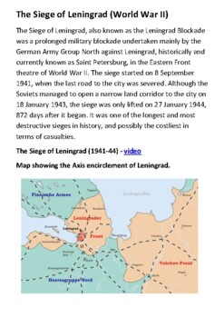 The Siege of Leningrad (World War II) Handout