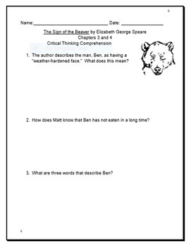 The Sign of the Beaver Complete Novel Study