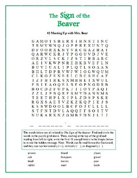 The Sign of the Beaver: 6 Word Searches Based on the Book